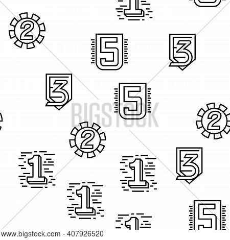 Numbers Numeral Title Vector Seamless Pattern Thin Line Illustration