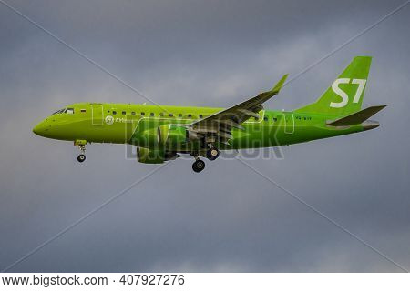 Saint Petersburg, Russia - August 26, 2020: Airplane Embraer Erj-170 (vq-byf) Of S7-siberia Airlines