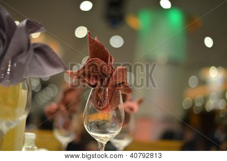 Banquet wedding table setting, shallow depth of field