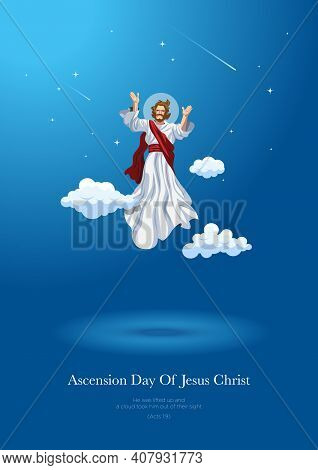 An Illustration Of The Ascension Day Of Jesus Christ. Vector Illustration