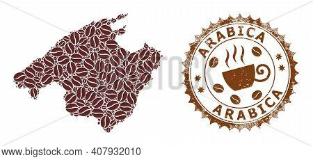 Coffee Mosaic Map Of Mallorca And Arabica Corroded Stamp Seal. Vector Map Of Mallorca Collage Is Com