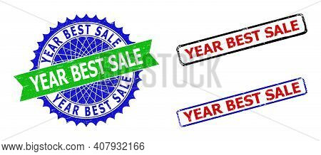 Bicolor Year Best Sale Stamps. Blue And Green Year Best Sale Seal With Sharp Rosette And Ribbon. Rou