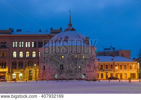Vyborg, Russia - February 08, 2021: Old Round Tower Close-up On February Evening