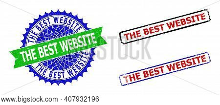Bicolor The Best Website Badges. Green And Blue The Best Website Watermark With Sharp Rosette And Ri