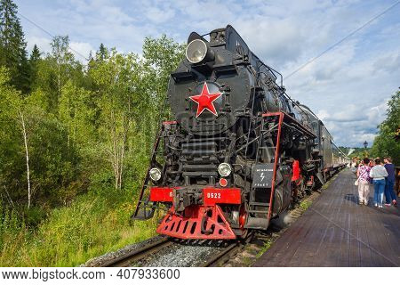 Ruskeala, Russia - August 15, 2019: Soviet Steam Locomotive Lv-0522 With The Ruskeala Express Train