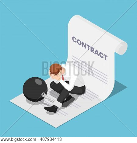 Flat 3d Isometric Businessman Chained With Big Metal Ball Sitting On Contract. Business Corporate Sl