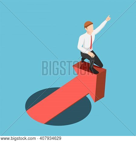 Flat 3d Isometric Businessman Leading Financial Graph Rising From Hole. Business Success And Leaders