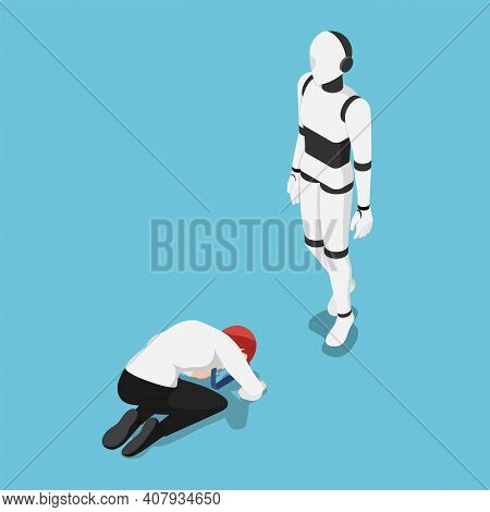 Flat 3d Isometric Businessman Prostrated In Front Of Ai Robot. Artificial Intelligence Technology An