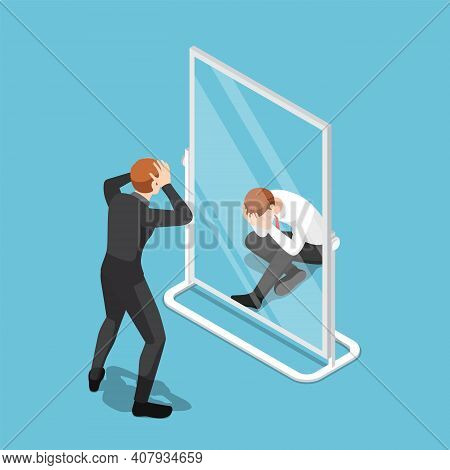 Flat 3d Isometric Businessman See Himself Failure In The Mirror. Business Failure And Low Self-estee