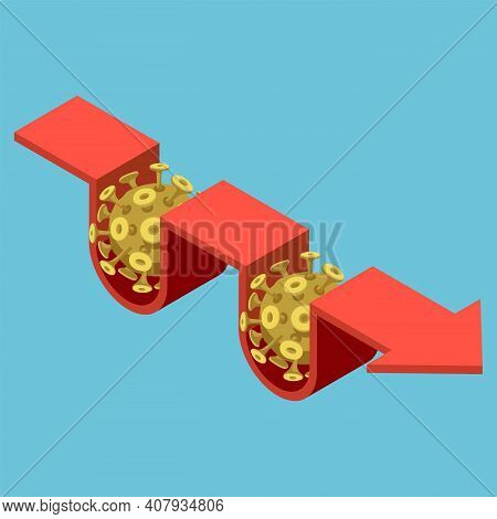 Flat 3d Isometric Covid-19 Virus Impact On Financial Arrow Graph. Financial Crisis Concept.