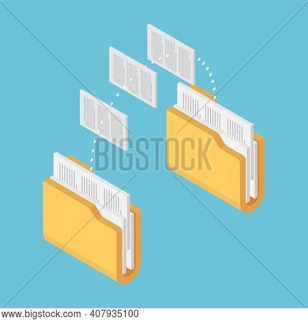 Flat 3d Isometric Two Folders Transferring Files Documents. File Sharing And Document Management Con