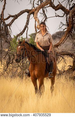 Smiling Brunette On Horseback By Dead Tree