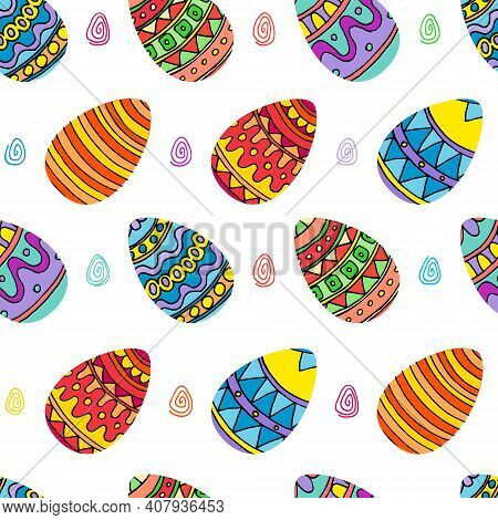 Bright Multi-colored Painted Seamless Pattern With Easter Eggs. Vector Illustration In Cartoon Style
