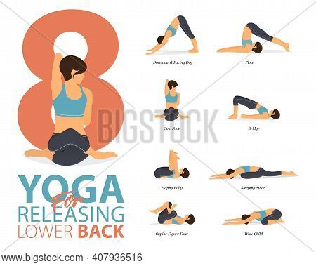 Infographic Of 8 Yoga Poses For Workout At Home In Concept Of Yoga For Releasing Lower Back In Flat
