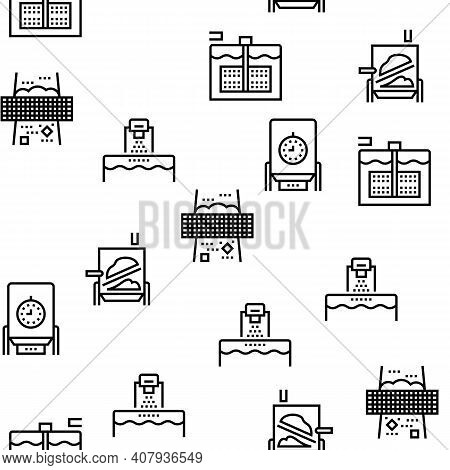 Paper Production Plant Vector Seamless Pattern Thin Line Illustration