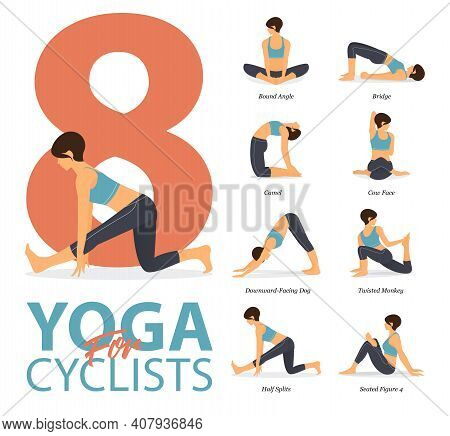 Infographic Of 8 Yoga Poses For Workout At Home In Concept Of Yoga For Cyclists In Flat Design. Woma
