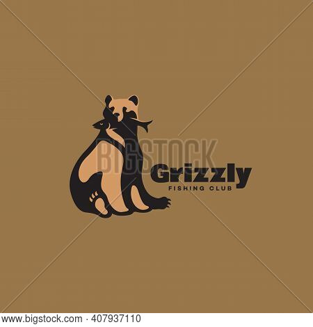 Sitting Grizzly Bear With A Fish Logo Design Template. Vector Illustration.