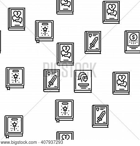 Literary Genres Books Vector Seamless Pattern Thin Line Illustration
