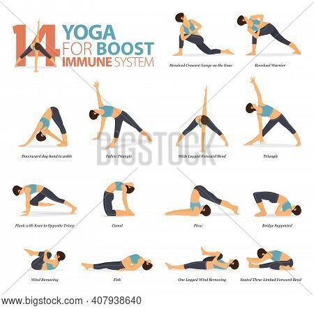 Infographic Of 14 Yoga Poses For Workout At Home In Concept Of Yoga For Boost Immune System In Flat