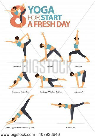 Infographic Of  8 Yoga Poses For Workout At Home In Concept Of Yoga For Start A Fresh Day In Flat De