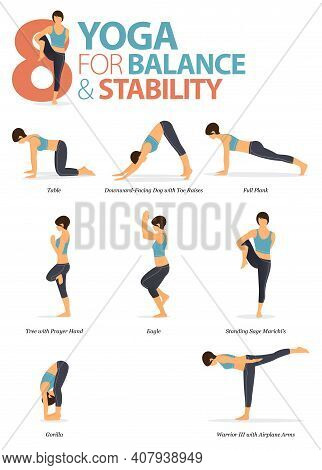 Infographic Of  8 Yoga Poses For Workout At Home In Concept Of Yoga For Balance And Stability In Fla