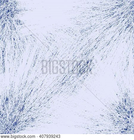 Seamless Pattern With Stylized Frosted White Crystals On Blue Background For Web Design