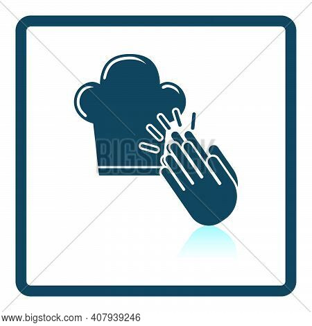 Clapping Palms To Toque Icon. Square Shadow Reflection Design. Vector Illustration.