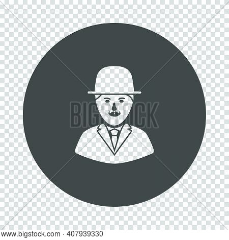 Detective Icon. Subtract Stencil Design On Tranparency Grid. Vector Illustration.