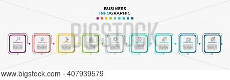Business Infographic Design Template Vector With Icons And 9 Nine Options Or Steps. Can Be Used For