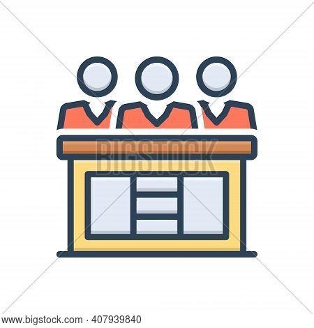 Color Illustration Icon For Hearings Audition Proceedings Meeting Jury Adjudicator