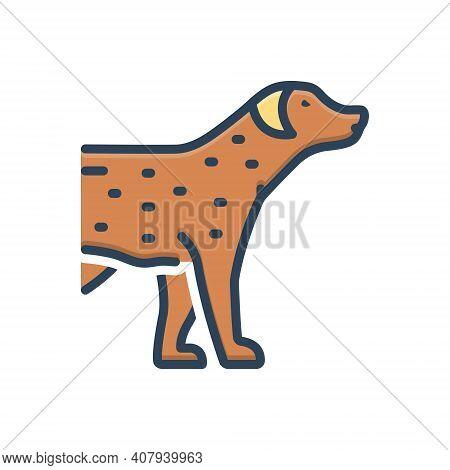 Color Illustration Icon For Pet Tame Faithful Dog Domestic Animal Cherished Endearing