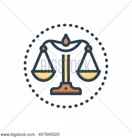 Color Illustration Icon For Integrity Honesty Probity Honor Justice Magistrate Balance Equilibrium