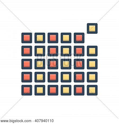 Color Illustration Icon For Element Pixel Pattern Picture-element Raster Pel