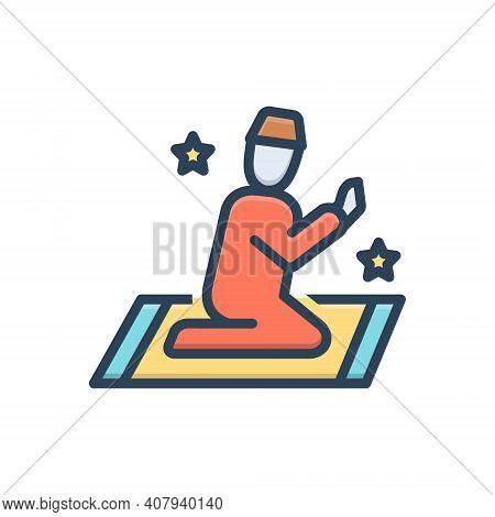Color Illustration Icon For Prayer Invocation Devotion Supplication Namaj Worship Benediction Muslim