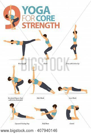 Infographic Of 9 Yoga Poses For Workout At Home In Concept Of Yoga For Core And Strength In Flat Des