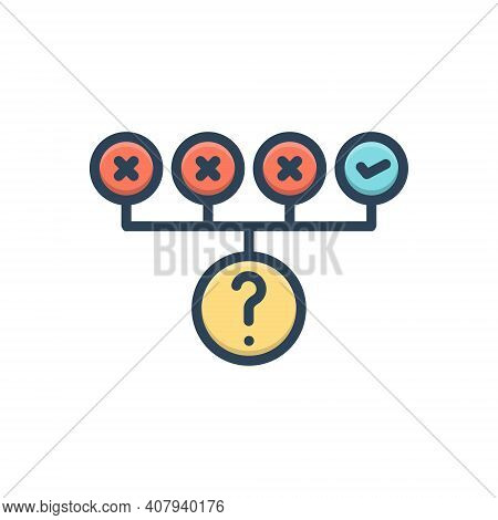 Color Illustration Icon For Trial Exploratory Test Wrong Right Inquiry Ordeal