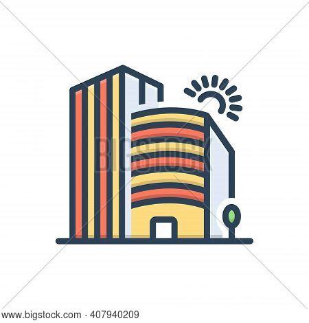 Color Illustration Icon For Company Corporate Office Building Business Association Architecture Apar