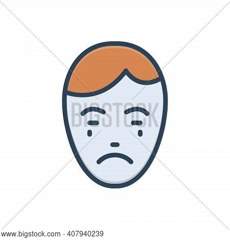 Color Illustration Icon For Express Manifest Obvious Explicit Emotion Weep