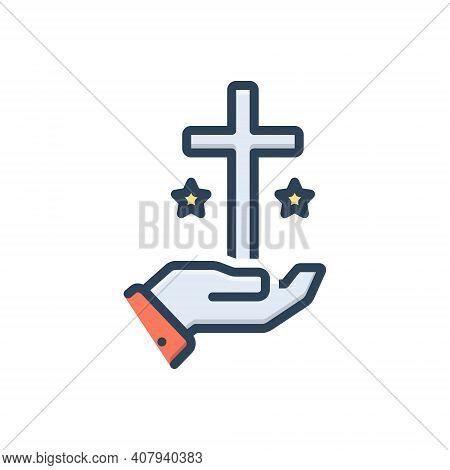 Color Illustration Icon For Truth Veracity Reality Faith Religion Church