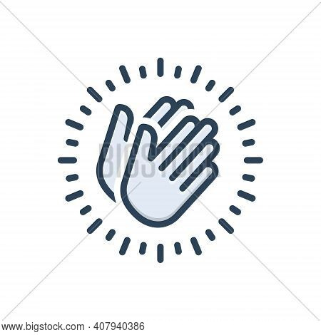Color Illustration Icon For Appreciate Applaud Hymn Eulogize Panegyrize Belaud Clapping Applause Che