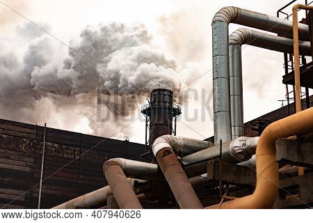 Atmospheric Air Pollution From Industrial Smoke. Metallurgical Plant.
