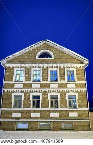Brick House In Tatar Settlement Of Kazan At Night