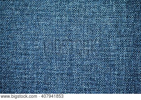 Blue Checkered Fabric Texture. Textile Pattern Background. Coach Furniture Closeup Materia. Blue Jea