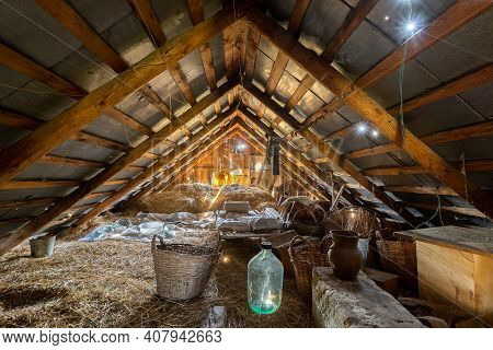 Old Abandoned And Cluttered Attic Chaos And Disorder