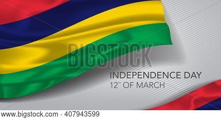 Mauritius Happy Independence Day Greeting Card, Banner With Template Text Vector Illustration