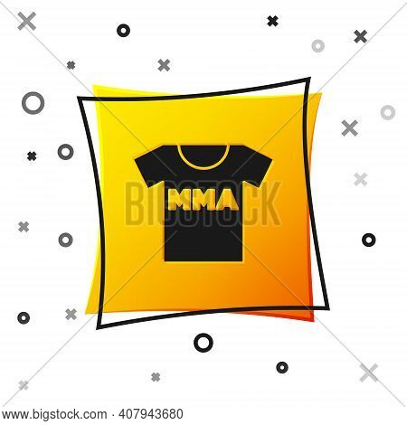 Black T-shirt With Fight Club Mma Icon Isolated On White Background. Mixed Martial Arts. Yellow Squa