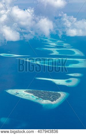 Picturesque Drone, Plane View On Seascape. Aerial View On Tropical Islands, Coral Reef In Indian Oce