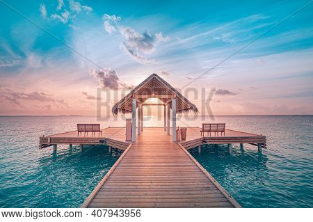 Maldives Bungalows Sunset Panorama. Amazing Sunset Sky And Reflection On Calm Sea, Maldives Beach La