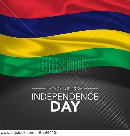 Mauritius Happy Independence Day Greeting Card, Banner, Vector Illustration