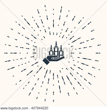 Grey Skyscraper Icon Isolated On Beige Background. Metropolis Architecture Panoramic Landscape. Abst
